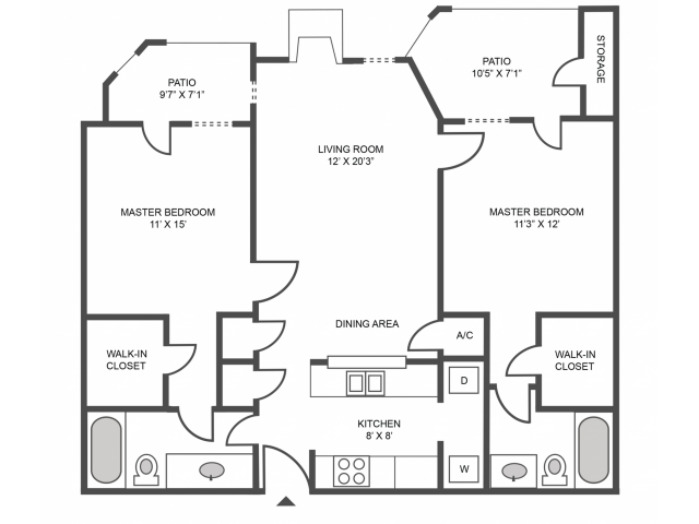 Maple Renovated Floor Plan | 2 Bedroom with 2 Bath | 930 Square Feet | The Arbors of Las Colinas | Apartment Homes