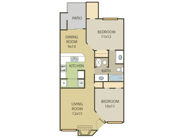 Elm Floor Plan | 2 Bedroom with 1 Bath | 918 Square Feet | Cottonwood | Apartment Homes