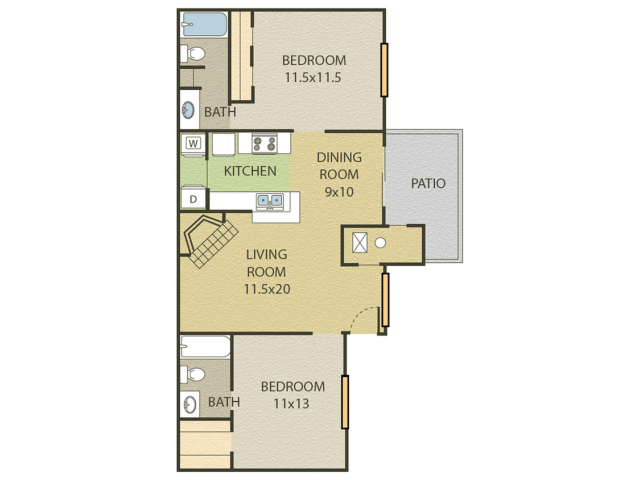 Chestnut Floor Plan | 2 Bedroom with 2 Bath | 927 Square Feet | Cottonwood | Apartment Homes