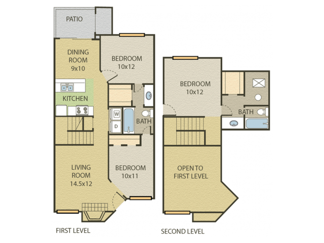 Hickory Floor Plan | 3 Bedroom with 2.5 Bath | 1238 Square Feet | Cottonwood | Apartment Homes