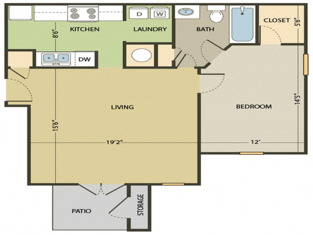 The Roanoke Floor Plan | 1 Bedroom with 1 Bath | 748 Square Feet | Arbors at Fairview | Apartment Homes