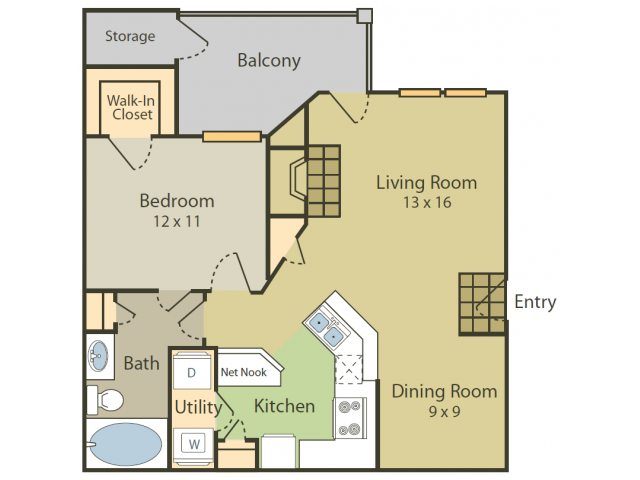 Bosch Floor Plan | 1 Bedroom with 1 Bath | 750 Square Feet | Stonebriar of Frisco | Apartment Homes