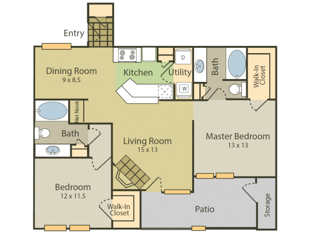 Matisse A Floor Plan | 2 Bedroom with 2 Bath | 1082 Square Feet | Stonebriar of Frisco | Apartment Homes