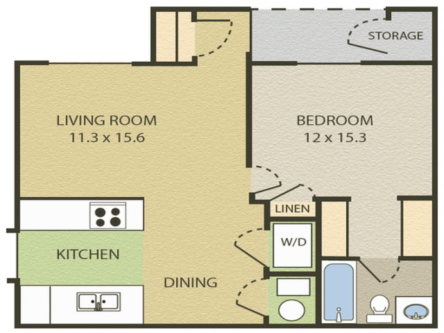 Concord Floor Plan | 1 Bedroom with 1 Bath | 607 Square Feet | Camelot  | Apartment Homes