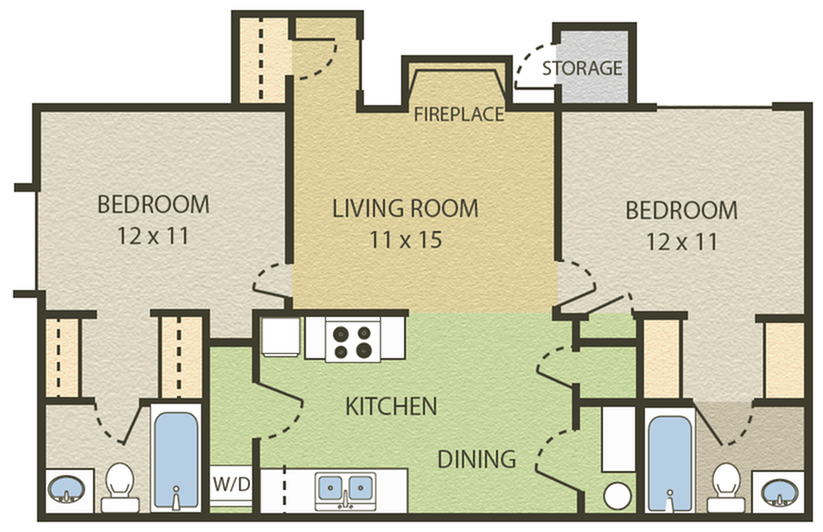 Hampton Floor Plan | 2 Bedroom with 2 Bath | 856 Square Feet | Camelot  | Apartment Homes