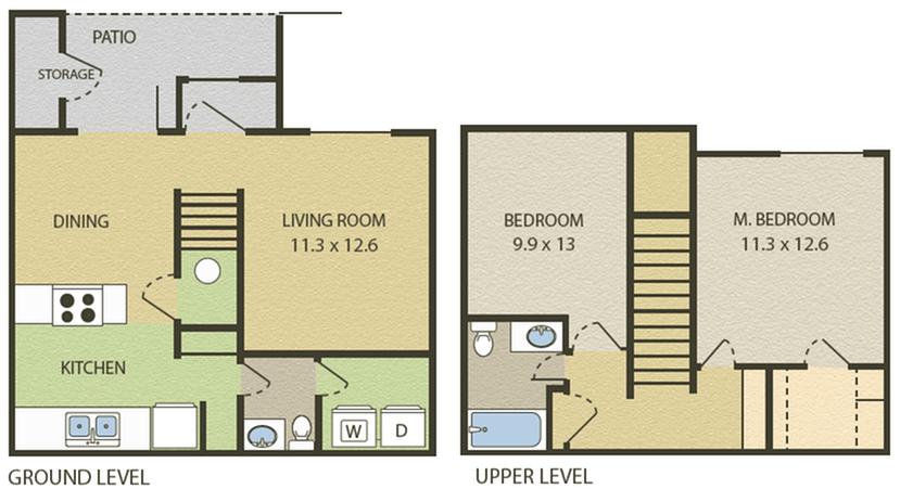 Cambridge Floor Plan | 2 Bedroom with 1.5 Bath | 919 Square Feet | Camelot  | Apartment Homes