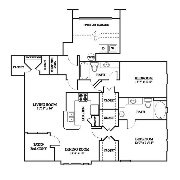 E1 Floor Plan | 2 Bedroom with 2 Bath | 1259 Square Feet | The Raveneaux | Apartment Homes