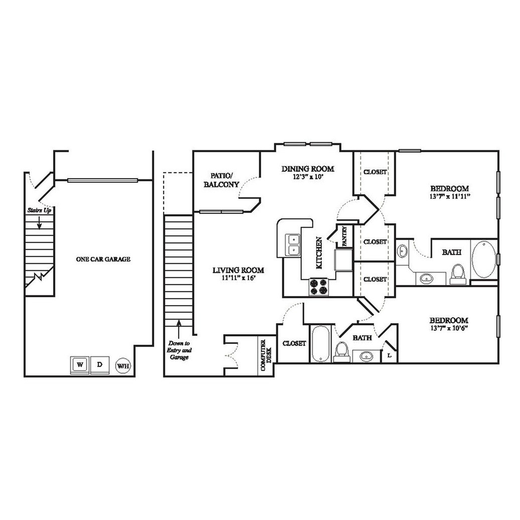 E2 Floor Plan | 2 Bedroom with 2 Bath | 1323 Square Feet | The Raveneaux | Apartment Homes