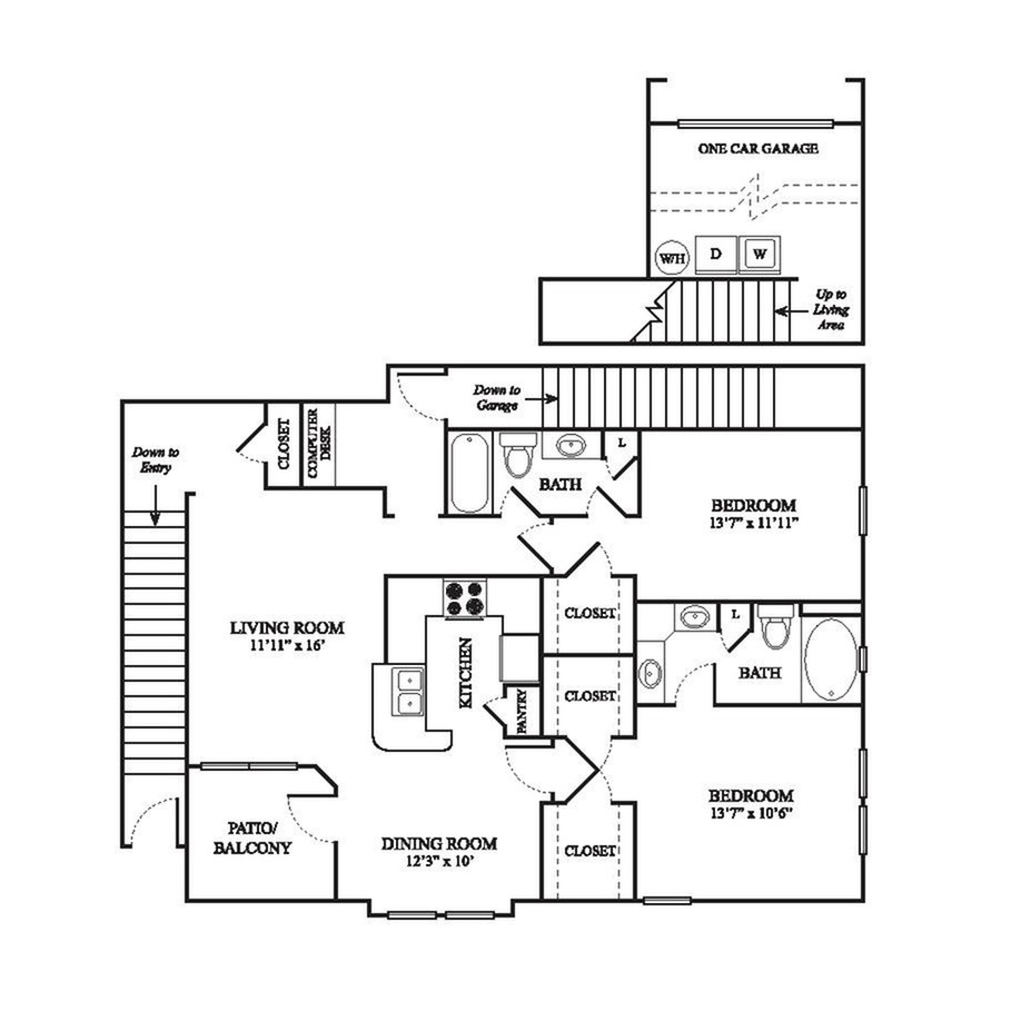 E3 Floor Plan | 2 Bedroom with 2 Bath | 1355 Square Feet | The Raveneaux | Apartment Homes