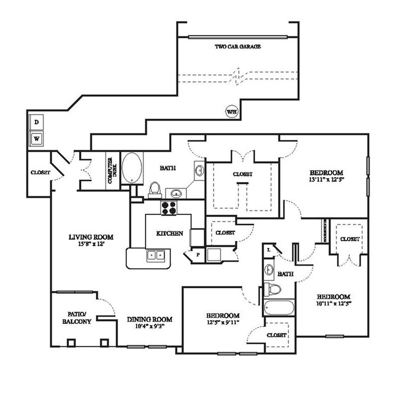 F1 Floor Plan | 3 Bedroom with 2 Bath | 1575 Square Feet | The Raveneaux | Apartment Homes