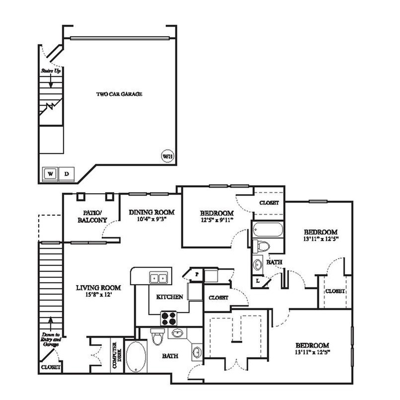 F2 Floor Plan | 3 Bedroom with 2 Bath | 1644 Square Feet | The Raveneaux | Apartment Homes