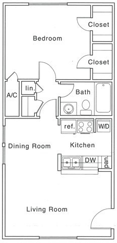 B Floor Plan | 1 Bedroom with 1 Bath | 685 Square Feet | The Regatta | Apartment Homes