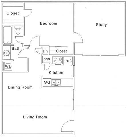 D Floor Plan | 1 Bedroom with 1 Bath | 853 Square Feet | The Regatta | Apartment Homes