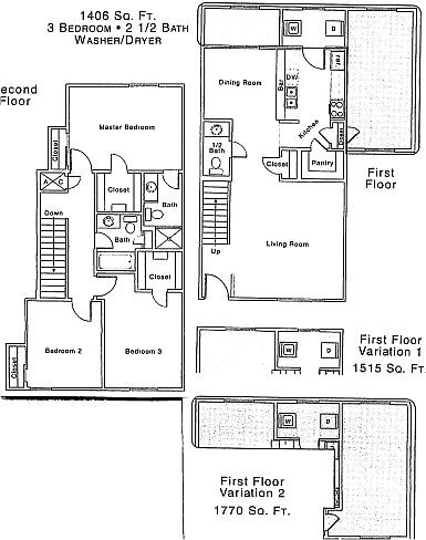 L Floor Plan | 3 Bedroom with 2.5 Bath | 1406 Square Feet | The Regatta | Apartment Homes