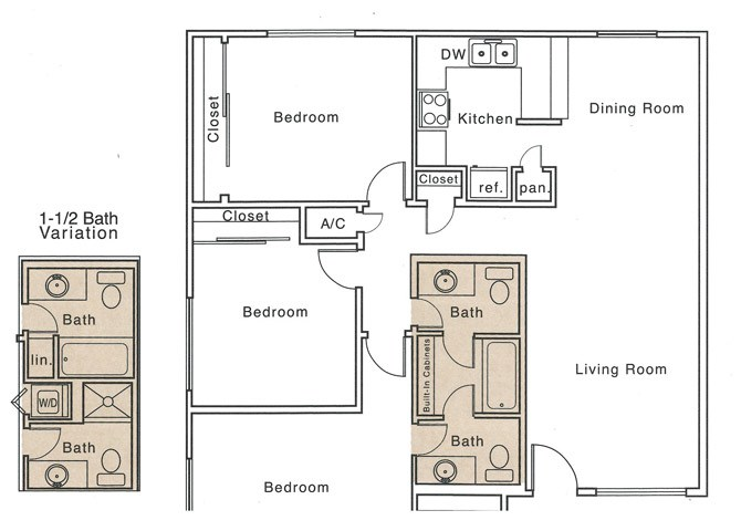 K Floor Plan | 3 Bedroom with 1.5 Bath | 1295 Square Feet | The Regatta | Apartment Homes