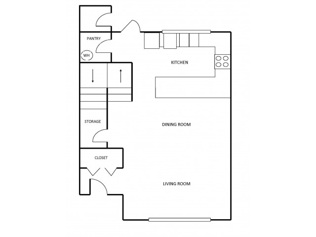 C4 Townhome Floor Plan 2 | 3 Bedroom with 2 Bath | 1365 Square Feet | Scott Mountain | Apartment Homes