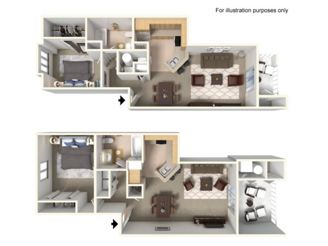 Vista Floor Plan | 1 Bedroom with 1 Bath | 830 Square Feet | Clearview | Apartment Homes