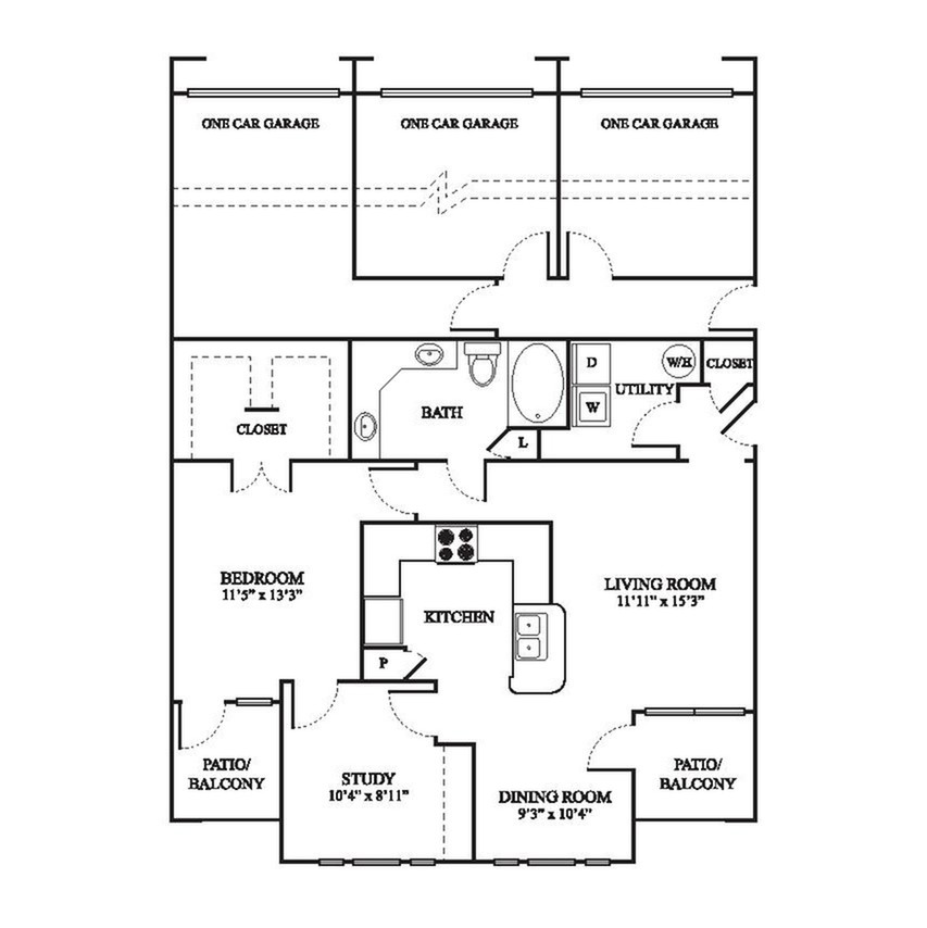 C2 Upgraded Floor Plan | 1 Bedroom with 1 Bath | 1032 Square Feet | The Raveneaux | Apartment Homes