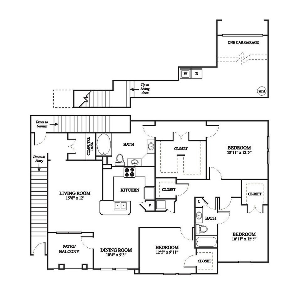 F3 Renovated Floor Plan | 3 Bedroom with 2 Bath | 1663 Square Feet | The Raveneaux | Apartment Homes