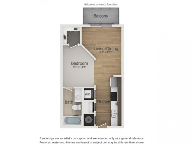 Apollo Floor Plan | 0 Bedroom with 1 Bath | 470 Square Feet | The Melrose | Apartment Homes