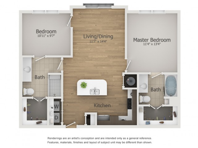 Palace Floor Plan | 2 Bedroom with 2 Bath | 942 Square Feet | The Melrose | Apartment Homes