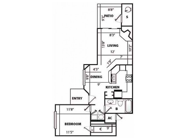 A Classic Floor Plan | 1 Bedroom with 1 Bath | 829 Square Feet | Pavilions | Apartment Homes