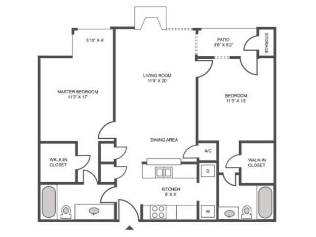 Oak Classic Floor Plan | 2 Bedroom with 2 Bath | 959 Square Feet | The Arbors of Las Colinas | Apartment Homes
