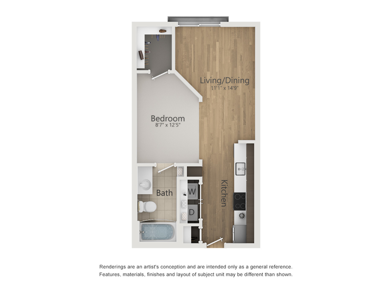 Metropolitan Floor Plan | Studio with 1 Bath | 503 Square Feet | The Melrose | Apartment Homes