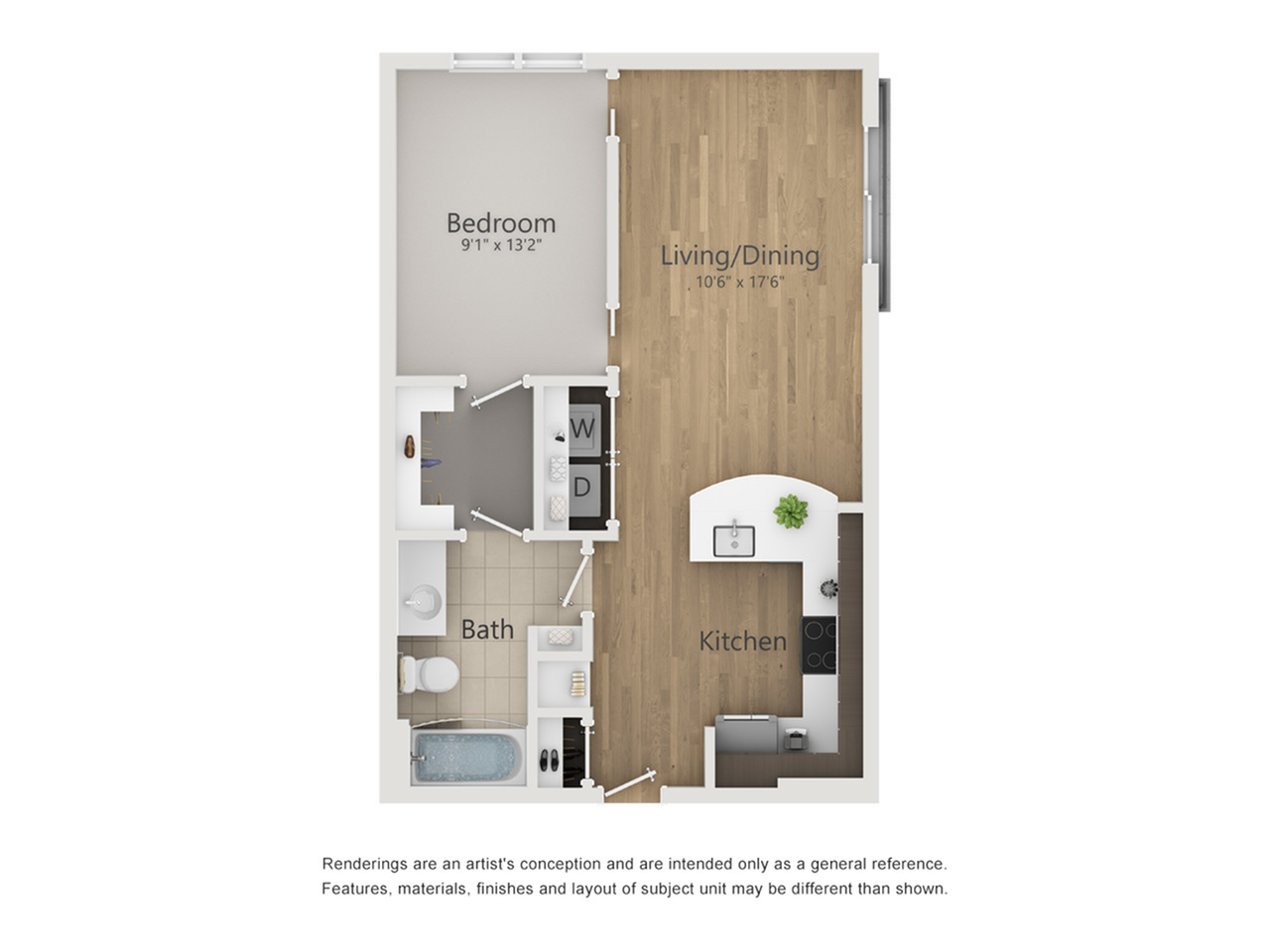 Uptown Floor Plan | 1 Bedroom with 1 Bath | 618 Square Feet | The Melrose | Apartment Homes
