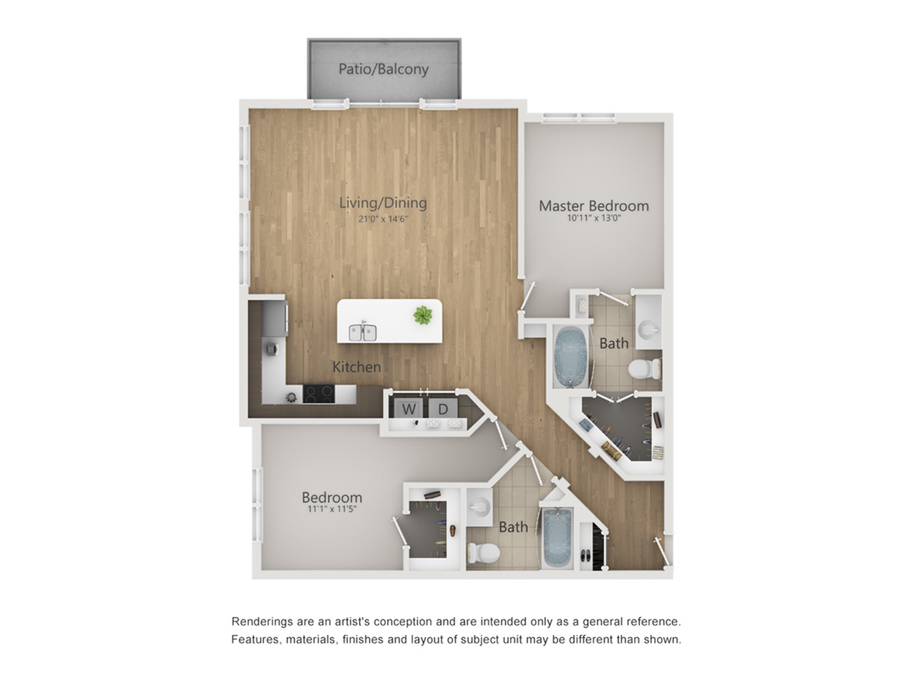 Paramount Floor Plan | 2 Bedroom with 2 Bath | 1189 Square Feet | The Melrose | Apartment Homes
