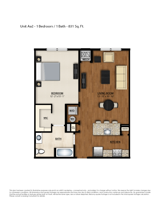 AA2 Floor Plan | 1 Bedroom 1 Bath | 831 Square Feet | Parc Westborough | Apartment Homes