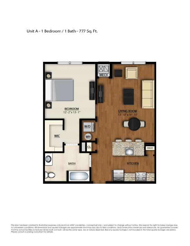 A Floor Plan | 1 Bedroom with 1 Bath | 777 Square Feet | Parc Westborough | Apartment Homes