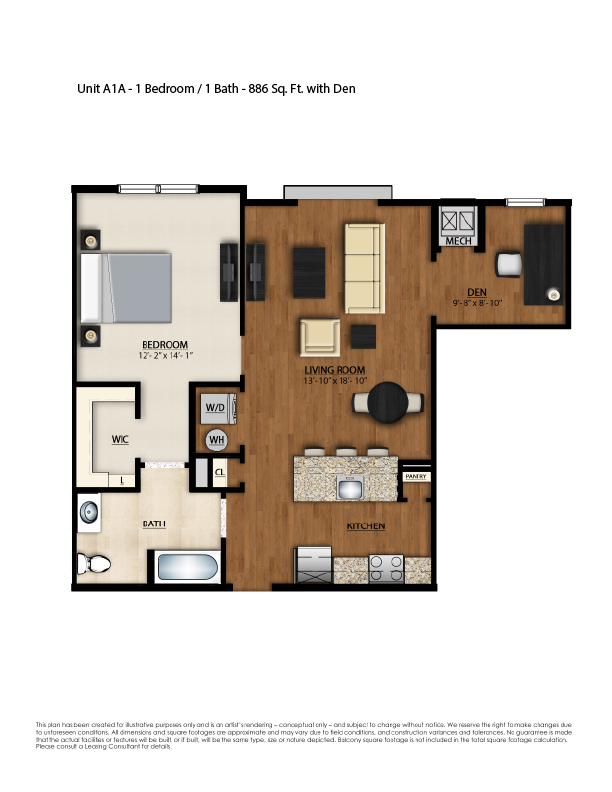 A1A Floor Plan | 1 Bedroom 1 Bath | 886 Square Feet | Parc Westborough | Apartment Homes