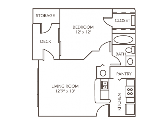 Ash Floor Plan | 1 Bedroom with 1 Bath | 603 Square Feet | 1070 Main | Apartment Homes