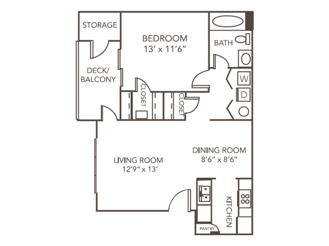Birch Floor Plan | 1 Bedroom with 1 Bath | 793 Square Feet | 1070 Main | Apartment Homes