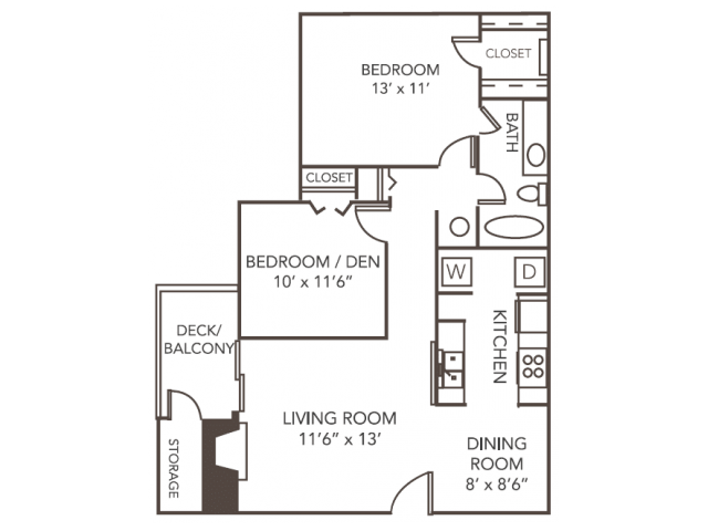 Cedar Floor Plan | 2 Bedroom with 1 Bath | 945 Square Feet | 1070 Main | Apartment Homes