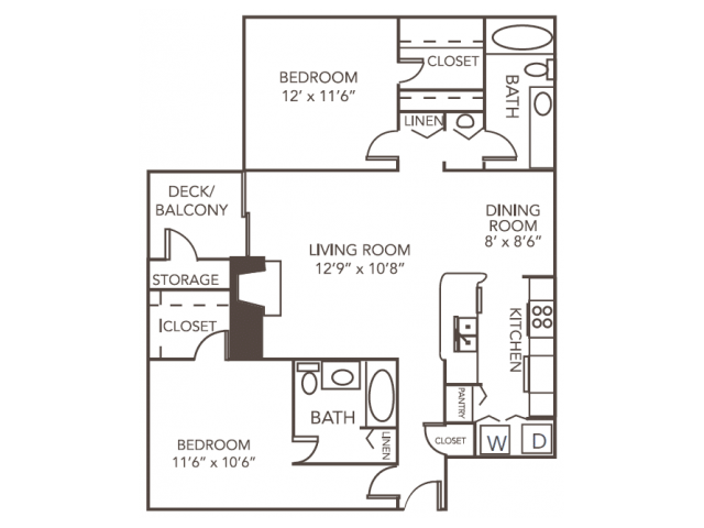 Dogwood Floor Plan | 2 Bedroom with 2 Bath | 1055 Square Feet | 1070 Main | Apartment Homes