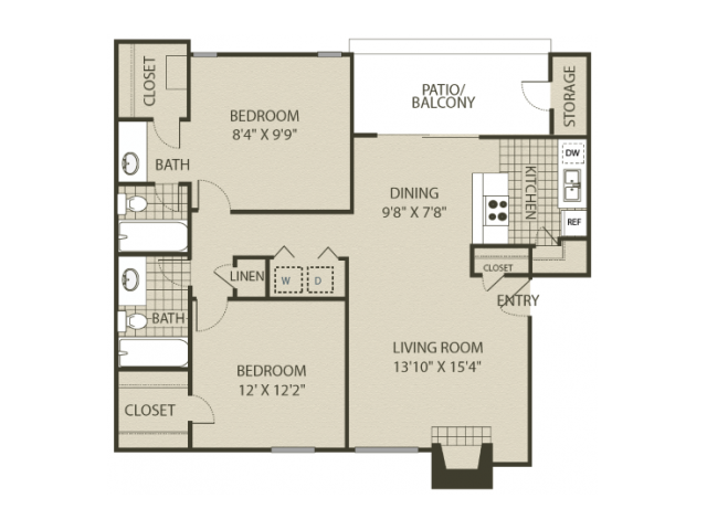 B2 Floor Plan | 2 Bedroom with 2 Bath | 1000 Square Feet | 4804 Haverwood | Apartment Homes