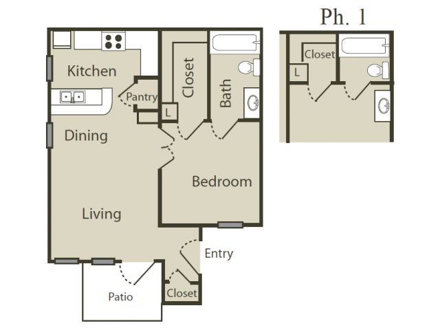 A1 Floor Plan | 1 Bedroom with 1 Bath | 512 Square Feet | Solara | Apartment Homes