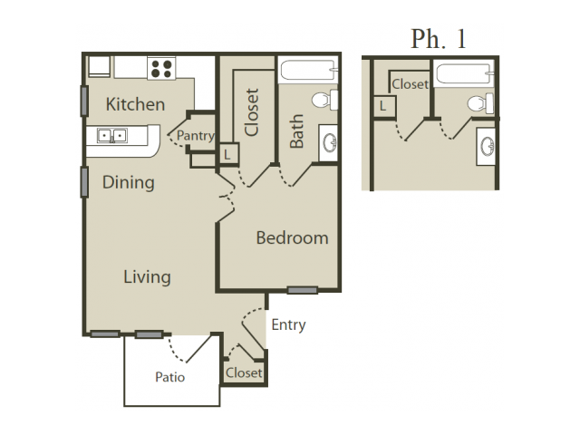 A2 Floor Plan | 1 Bedroom with 1 Bath | 512 Square Feet | Blue Swan | Apartment Homes