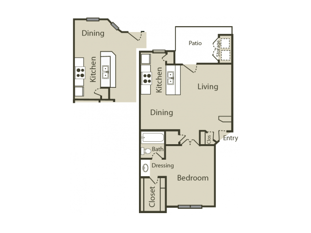 B1 Floor Plan | 1 Bedroom with 1 Bath | 645 Square Feet | Blue Swan | Apartment Homes