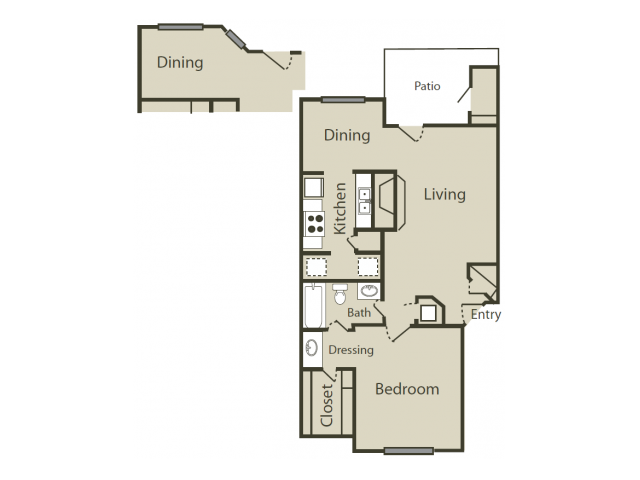 C1 Floor Plan | 1 Bedroom with 1 Bath | 745 Square Feet | Blue Swan | Apartment Homes