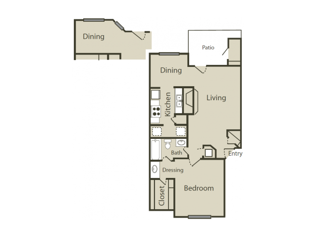 C2 Floor Plan | 1 Bedroom with 1 Bath | 745 Square Feet | Blue Swan | Apartment Homes