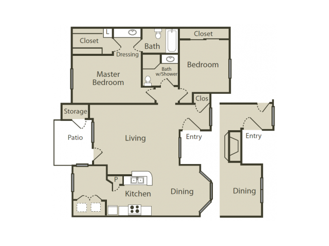 F1 Floor Plan | 2 Bedroom with 2 Bath | 1064 Square Feet | Blue Swan | Apartment Homes
