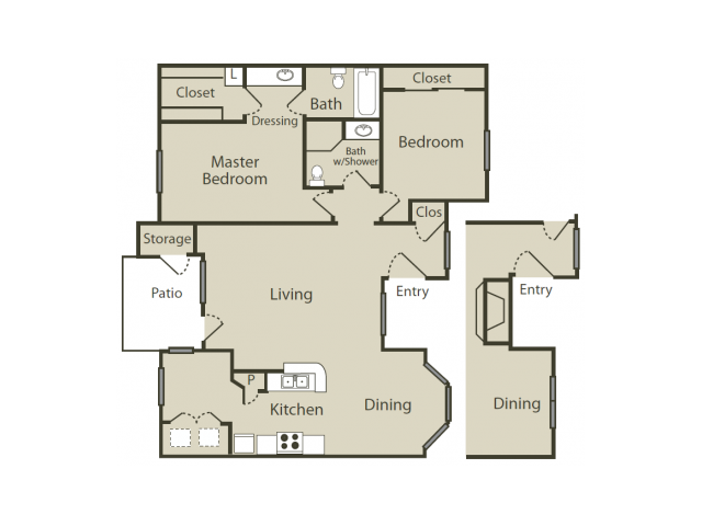 F2 Floor Plan | 2 Bedroom with 2 Bath | 1050 Square Feet | Blue Swan | Apartment Homes