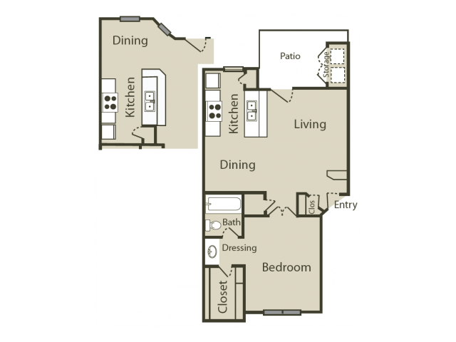 B2 Floor Plan | 1 Bedroom with 1 Bath | 645 Square Feet | Blue Swan | Apartment Homes