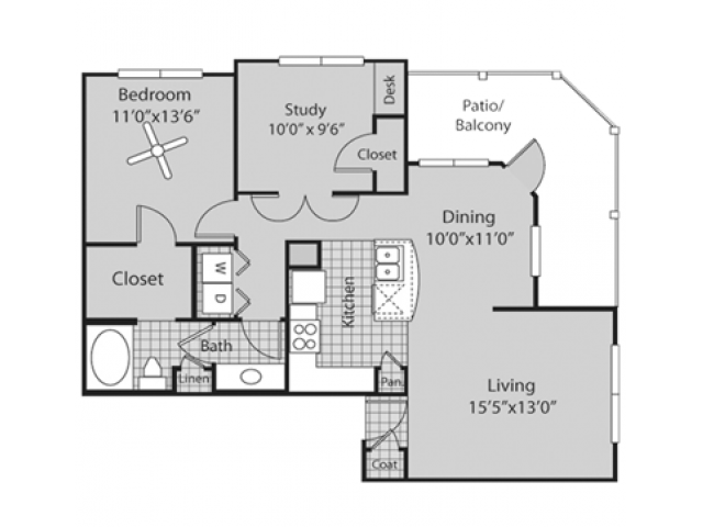 B1 Floor Plan | 2 Bedroom with 1 Bath | 971 Square Feet | Bluffs at Vista Ridge | Apartment Homes