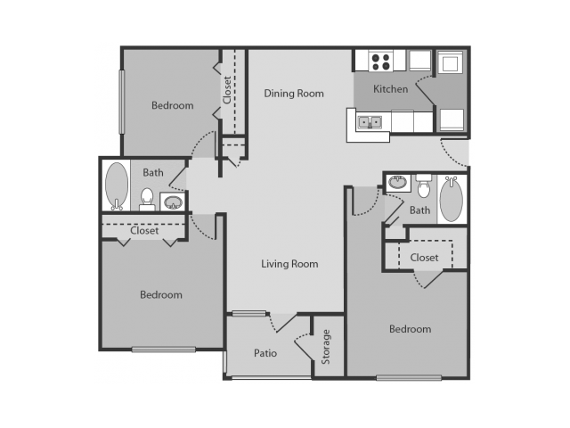 Chandler Floor Plan | 3 Bedroom with 2 Bath | 1128 Square Feet | Midtown Crossing | Apartment Homes