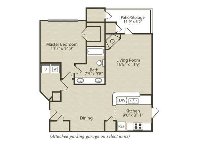 The Dogwood with Sunroom Floor Plan | 1 Bedroom with 1 Bath | 952 Square Feet | Retreat at River Park | Apartment Homes