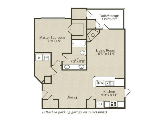 Renovated Dogwood with Sunroom Floor Plan | 1 Bedroom with 1 Bath | 952 Square Feet | Retreat at River Park | Apartment Homes